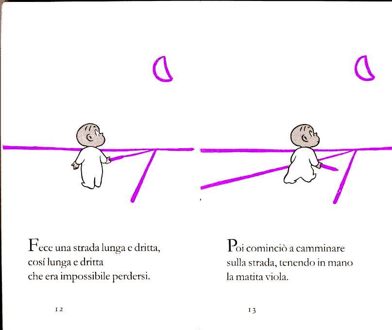Harold and the Purple Crayon, Crockett Johnson, pp. 12-13 (edizione italiana, Einaudi Ragazzi, 2000; traduzione di Giulio Lughi)