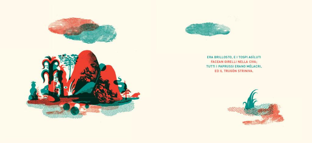 """Jabberwocky"""" di Lewis Carroll, illustrazioni di Raphaël Urwiller, traduzione di Masolino D'Amico, Orecchio Acerbo, 2012"""