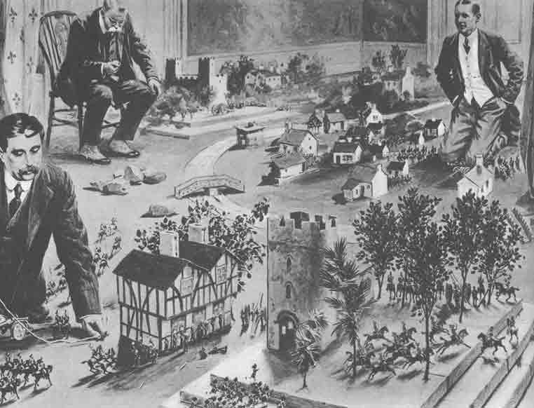 Da un giornale d'epoca, H. G. Wells gioca con i soldatini: l'immagine accompagna la presentazione del regolamento di gioco Little Wars (1913). Wells è quello coi baffi in primo piano, in ginocchio sulla destra è ritratto probabilmente l'amico Jerome K. Jerome.