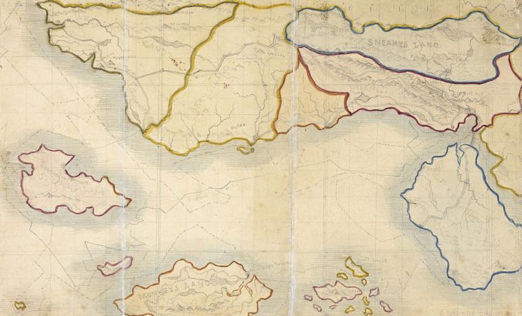 La mappa di Angria, stilata da Branwell Brontë tra il 1830 e il 1831.