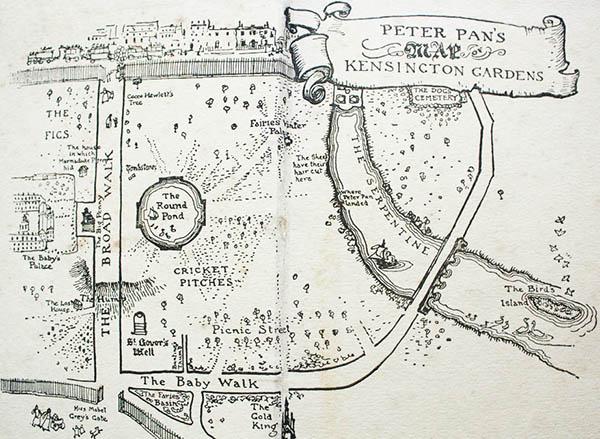 La mappa di Peter Pan dei Kensington Gardens