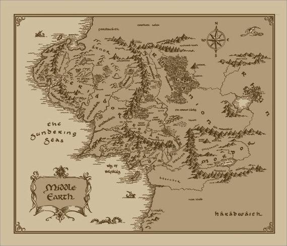 La mappa della Terra di Mezzo, dal Signore degli Anelli