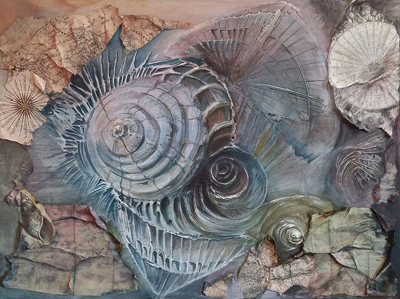 Chiara Casarini, Above The Surface, anno 2016 (80x60, tempera acrilica, gesso, collage su tela)