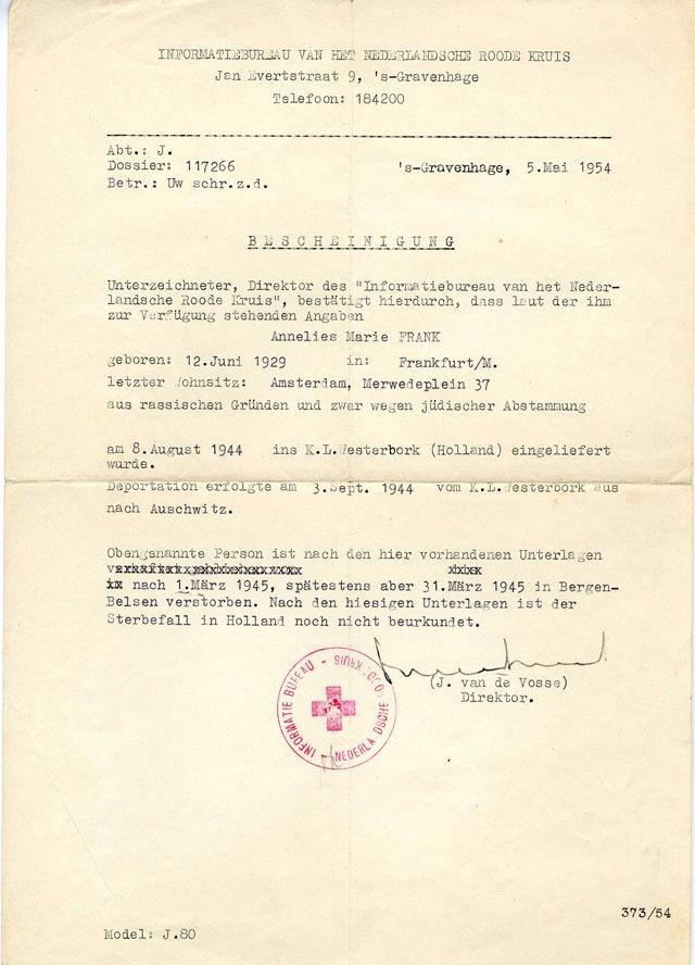 Documento della Croce Rossa del 1954 attestante la morte di Anne Frank avvenuta nel mese di marzo del 1945. Il corpo non è mai stato ritrovato.