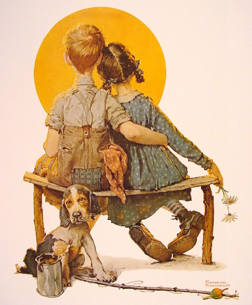 Norman Rockwell, Boy and girl gazing at the moon, 1926