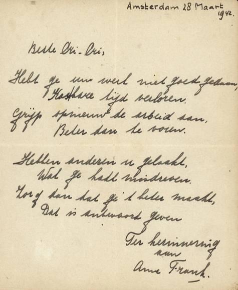 Esempio della scrittura di Anne, la lettera è del 28 marzo 1942, quattro mesi prima dell'ingresso nell'alloggio segreto.